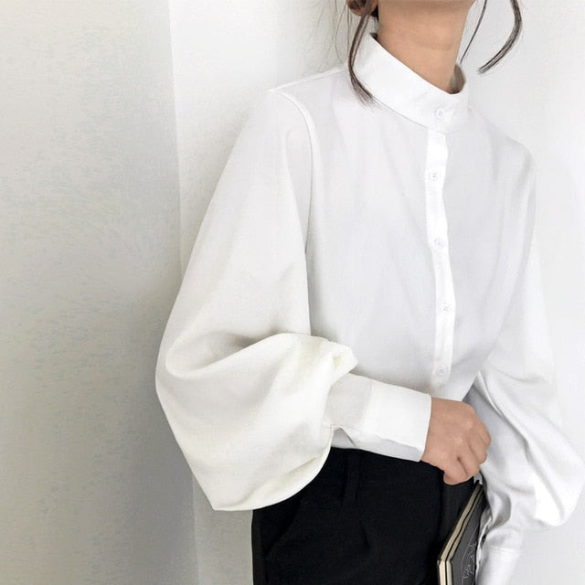 Big Lantern Sleeve Blouse Women Autumn Winter Single Breasted Stand Collar Shirts Office Work Blouse Solid Vintage Blouse Shirts