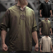 Load image into Gallery viewer, Men Plus Size Shirt Top Ancient Viking Embroidery Lace Up V Neck Long Sleeve Shirt Top For Men's Clothing
