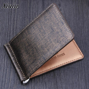 Men Bifold Business Leather Wallet  Luxury Brand Famous ID Credit Card Visiting Cards Wallet  Multi-functional Magic Money Clips