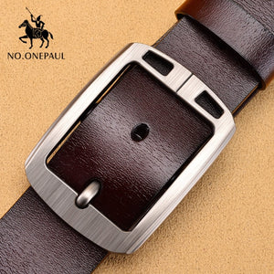 NO.ONEPAUL Authentic men's leather business fashion retro  belt alloy pin buckle new buckle men's jeans wild belt free shipping - Find A Gift Fast
