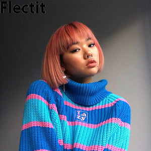 Flectit Womens Striped Roll Neck Jumper - Find A Gift Fast