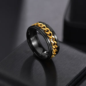 Auxauxme Punk Rock Men Spinner Ring Titanium Stainless Steel Gold Black Chain Rotable Rings For Male Accessories Drop Shipping