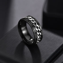 Load image into Gallery viewer, Auxauxme Punk Rock Men Spinner Ring Titanium Stainless Steel Gold Black Chain Rotable Rings For Male Accessories Drop Shipping