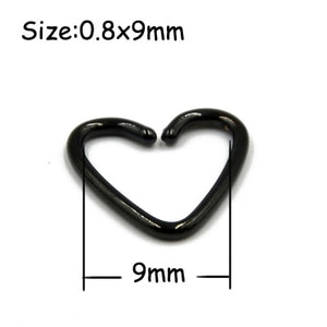 1 PC Steel Black Seamless Hinged Nose Hoop Septum Clicker Heart Star Lip Labret Ring Ear Cartilage Tragus Piercing Body Jewelry