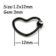 Load image into Gallery viewer, 1 PC Steel Black Seamless Hinged Nose Hoop Septum Clicker Heart Star Lip Labret Ring Ear Cartilage Tragus Piercing Body Jewelry