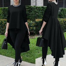 Load image into Gallery viewer, Brand New Women Solid Loose Blouse Shirt Tops Asymmetrical Sleeve Long High Low Size Waterfall Tuxedo Plus Size