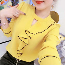 Load image into Gallery viewer, Women Spring Summer Style Chiffon Blouses Shirts Lady Casual Long Sleeve Ruffles Decor Stand Collar Chiffon Blusas Tops DF3148