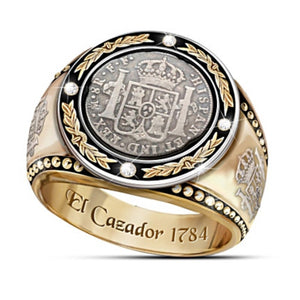 FDLK Classic Retro Male Ring Round Inlaid with 4 Zircon Crown Lion Olive Branch Pattern ring for man
