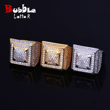Load image into Gallery viewer, Rings Gold Color Copper Material Iced Full CZ Hip hop Rings Fashion HIP-HOP Jewelry Size 7-12