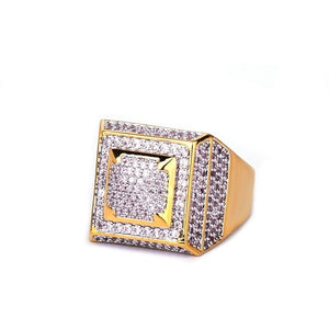 Rings Gold Color Copper Material Iced Full CZ Hip hop Rings Fashion HIP-HOP Jewelry Size 7-12