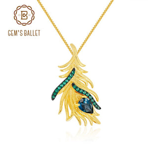 GEM'S BALLET 925 Sterling Silver Golden Feather Gypsy Statement Pendant Necklace For Women Natural London Blue Topaz Jewelry