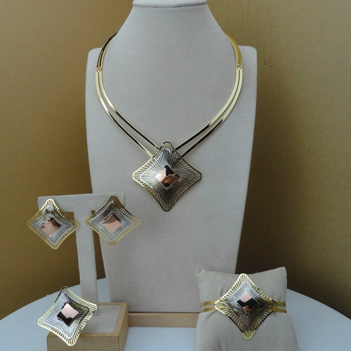 Yuminglai Italian Designer Jewelry Dubai 24K Gold Jewlery Exquisite Jewelry Sets  FHK8521 - Find A Gift Fast