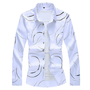 2020 Autumn New Men's Printed Shirt Fashion Casual White Long Sleeve Shirt Male Brand Clothes Plus Size 5XL 6XL 7XL