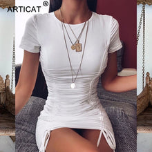 Load image into Gallery viewer, Articat White Ruched Pleated Bodycon Dress - Find A Gift Fast