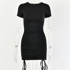 Articat White Ruched Pleated Bodycon Dress - Find A Gift Fast