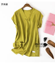 Load image into Gallery viewer, Summer casual 100% natural silk V-neck blouse cross-neck kimono collar natural silk short-sleeved blouse shirt