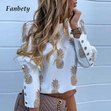Load image into Gallery viewer, Elegant New Puff shoulder blouse shirts Office Lady Autumn Metal Buttoned Detail Blouses women Pineapple print long sleeve tops