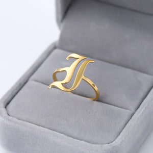 Initial Letter Ring for Women Stainless Steel Ring Gold Men A-Z Rings Initia Anillos Mujer Alphabet Capital Ring for Girl