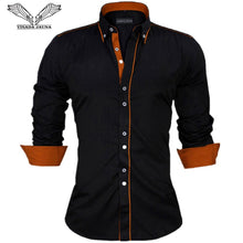 Load image into Gallery viewer, VISADA JAUNA Men Shirts Europe Size New Arrivals Slim Fit Male Shirt Solid Long Sleeve British Style Cotton Men's Shirt Office