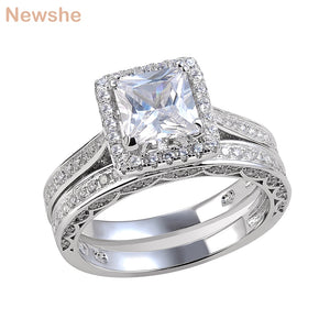 Newshe 2 Pcs Wedding Ring Set