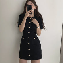 Load image into Gallery viewer, Button Knitted Dress Bodycon Mini Vestido Curto Korean Summer Sexy Party Elegant Black Black Moda Feminina Ropa Mujer 2020 Robes