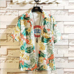 Print Brand Summer Hot Sell Men's Beach Shirt Fashion Short Sleeve Floral Loose Casual Shirts Plus Asian SIZE M-4XL 5XL Hawaiian