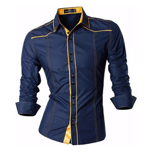 Jeansian Men's Fashion Dress Shirts Casual Long Sleeve Slim Fit Tatoo Stylish Z030