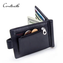 Load image into Gallery viewer, CONTACT'S Fashion Genuine Leather Money Clips High Quality Cow Leather Men Wallets Hasp Mini Purses vintage Men Wallet Card Hold