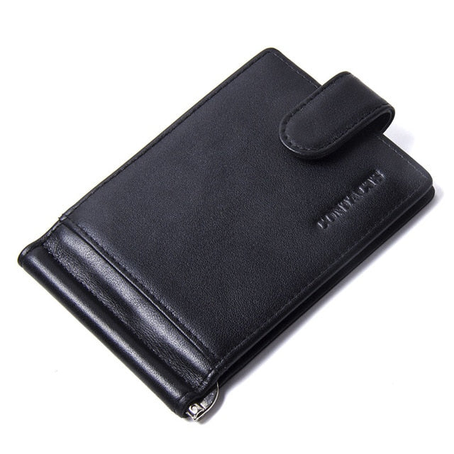 CONTACT'S Fashion Genuine Leather Money Clips High Quality Cow Leather Men Wallets Hasp Mini Purses vintage Men Wallet Card Hold