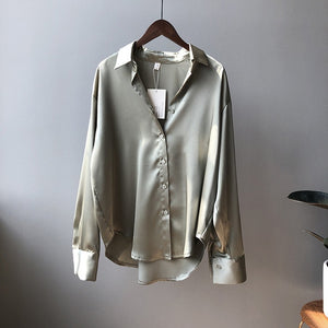 High quality Women Satin Blouse 2020 Summer Women Satin Blouses Shirt Office Long Sleeves Female Loose Street Shirts 0726