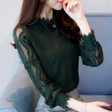 Load image into Gallery viewer, Spring Beading Mesh Blouses Women Sweet Lantern Sleeve Pearls Gauze Blouses Ladies Elegant Shirt Tops Stand Collar Chiffon S-2XL