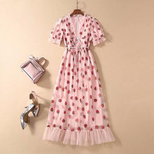 Load image into Gallery viewer, Sexy V-Neck Belt Strawberry Hot stamping Short Sleeve Party Mid-Length Dress Net Yarn Summer New Women'S Clothing
