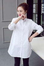 Load image into Gallery viewer, Classic White Shirts for Women Plus Size 3 4 5 XL Casual Loose Long Sleeve Blouse Shirt YWS05