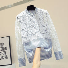 Load image into Gallery viewer, Loose cute lace hollow out floral blouse women o-neck striped shirt top 2020 autumn new arrival