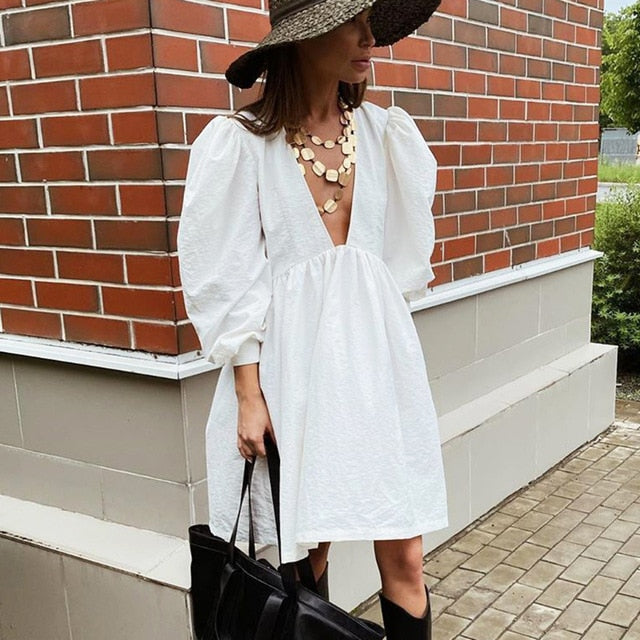 Bclout Casual Mini Fit and Flare Dress Women Puff Sleeve V Neck Black Party Dresses White Buttons Long Sleeve Autumn Vestido