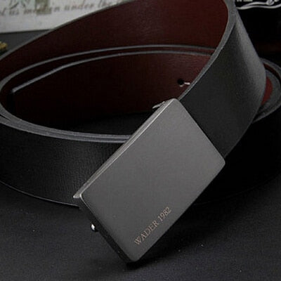 2020 men's genuine leather belt male cowskin belt formal suit trousers belt cowhide smooth buckle metal starp gift for men belts