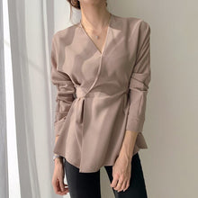 Load image into Gallery viewer, chic Design V-Neck Long Sleeve Black Shirt Retro Slim Top Bandage Waist Blouse Plus Size Clothes Women Elegant OL Style Office