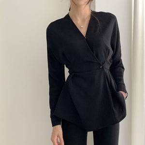 chic Design V-Neck Long Sleeve Black Shirt Retro Slim Top Bandage Waist Blouse Plus Size Clothes Women Elegant OL Style Office