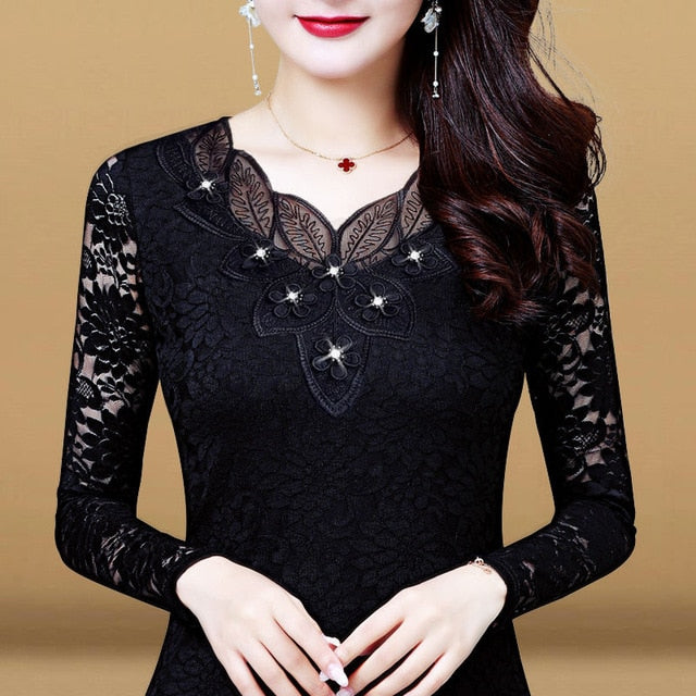 Women Spring Autumn Style Lace Blouses Shirts Lady Casual Long Sleeve Embroidery Flower O-Neck Lace Blusas Tops DD8154