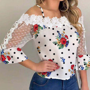 2020 Autumn Women Elegant Stylish Party Top Female Fashion Basic Casual Shirt Cold Shoulder Mesh Insert Dots Floral Print Blouse