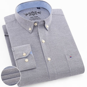 Men's Fashion Long Sleeve Plaid Striped Oxford Shirt Single Pocket Standard-fit Button-down Checkered Outerwear Casual Shirts