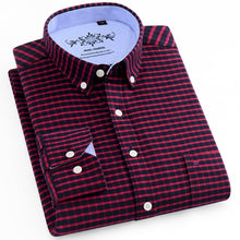 Load image into Gallery viewer, Men's Fashion Long Sleeve Plaid Striped Oxford Shirt Single Pocket Standard-fit Button-down Checkered Outerwear Casual Shirts