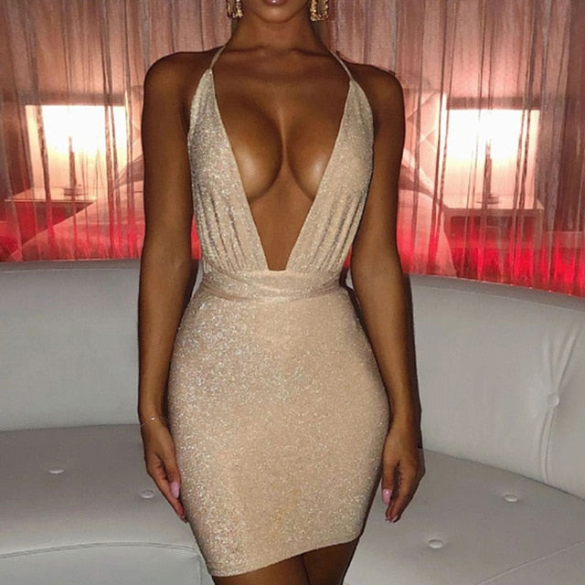 Sexy Backless Glitter Dress Women  Deep V Bodycon Mini Dresses 2020 Summer Night Club Party dress