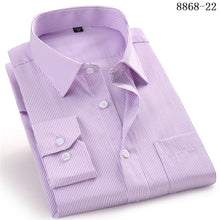 Load image into Gallery viewer, High Quality Men Dress Casual Plaid Stripe Long Sleeved Shirt Male Regular Fit Blue Purple 4XL 5XL 6XL 7XL 8XL Plus Size Shirts