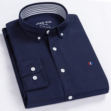 Load image into Gallery viewer, Casual Pure Cotton Oxford Mens Shirts Long Sleeve Embroidery Logo Design Regular Fit Fashion Stylish