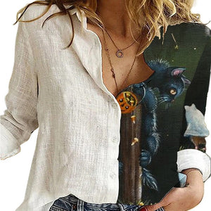 Vintage Women Patchwork Button Long Sleeve Blouses Autumn Casual Loose Office Shirt Femme Plus Size 5XL Floral Print Shirt Blusa