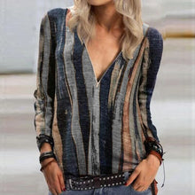 Load image into Gallery viewer, 2020 Autumn Casual Women Blouse Shirts Retro V Neck Button Long Sleeve Tops Elegant Office Ladies Plus Size Shirt Blusa Feminina
