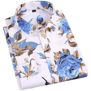 Men's Floral Print Shirts Long Sleeve Fashion Flower Printing Casual Shirts 100% Polyester Soft Comfortable Men Dress Shirt