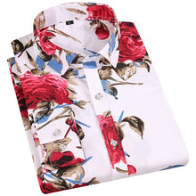 Load image into Gallery viewer, Men's Floral Print Shirts Long Sleeve Fashion Flower Printing Casual Shirts 100% Polyester Soft Comfortable Men Dress Shirt