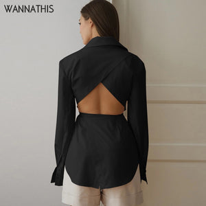 WannaThis Blouse Women Long Sleeve Hollow Out Lace up Shirts Casual Fashion Sexy Turn-down Collar Front Button Solid Autumn Top